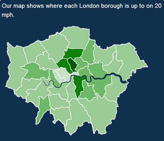 Лондон. Карта ограничений 32 км/ч