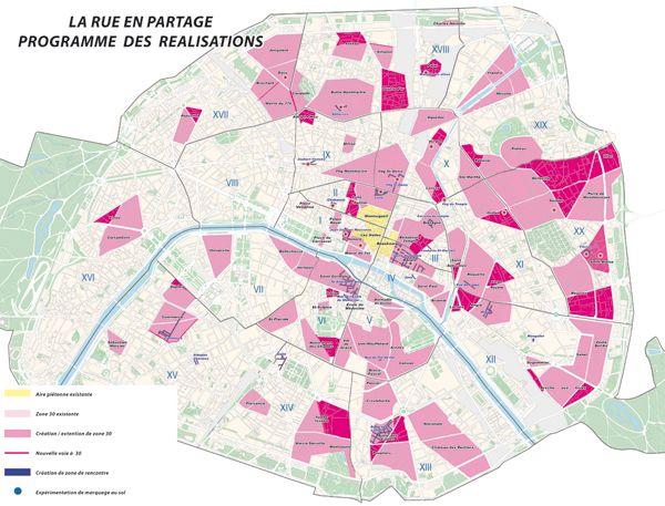 Париж. Скоростные зоны 30 км/ч