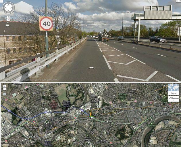Лондон. Магистраль в городе. Ограничение 64 км/ч