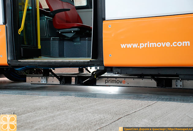 Токоприемная бесконтактная панель электроавтобуса