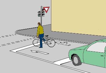 Стоп-линия для велосипедистов, вынесенная перед автомобилями