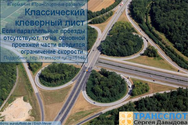 Классический клеверный лист. Если параллельные проезды отсутствуют, то на основной проезжей части вводится ограничение скорости. (Фото: eurobild.de/Robert Grahn)