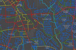 Штат Мэриленд, США: Уровень стресса при поездках на велосипеде на карте