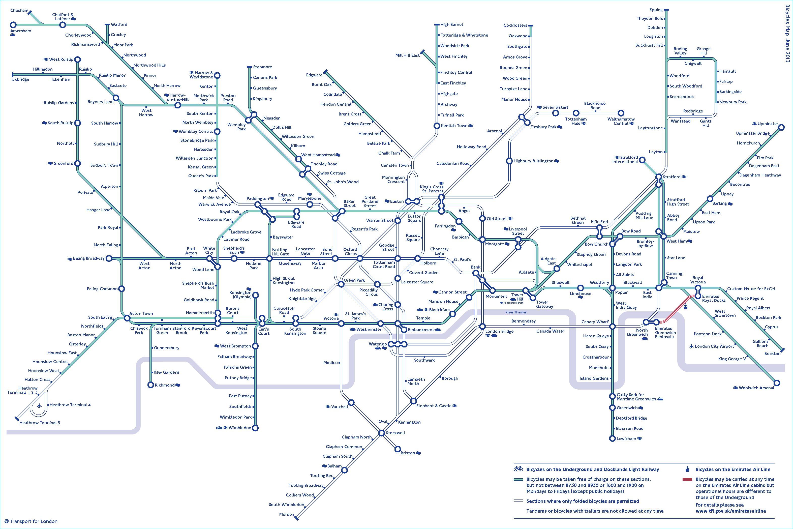 карта лондонского метро для велосипедиста