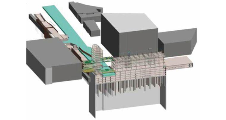 Разрез рва и окружающих зданий. Изображение показывает еще недостроенную часть проекта.