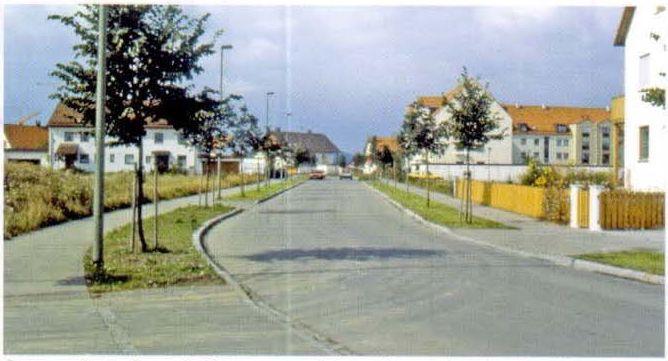 Коллекторная улица с устройством газонов с деревьями между проезжей частью и тротуаром