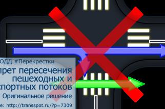 Запрет пересечения транспортных и пешеходных потоков. Часть 3
