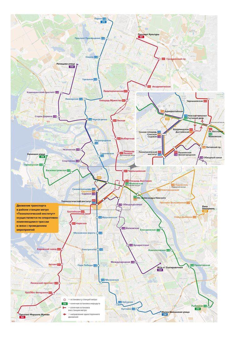 Схема дублирования линий метрополитена маршрутами наземного транспорта. 03.04.2017 СПб