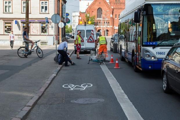 Демаркировка выделенной полосы для велосипедного движения