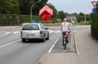 Съезд с велодорожки на проезжую часть на подходе к кольцу
